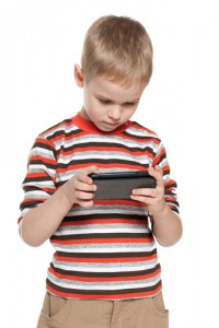 little boy with cell phone