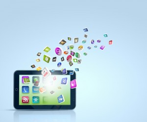 tablet with flying apps