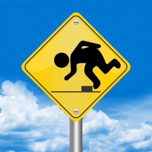 street sign of person stumbling